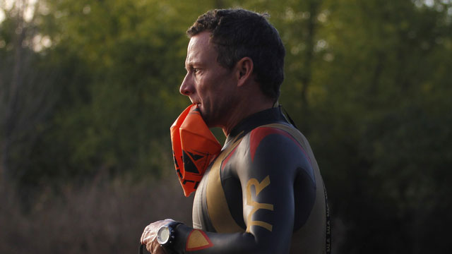 Lance Armstrong at a triathlon race in 2011. (AP/Jim Urquhart)