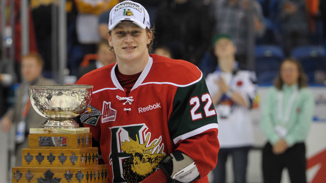 56ead8ea49d Halifax Mooseheads centre Nathan MacKinnon appears to be the target of the  Colorado Avalanche.