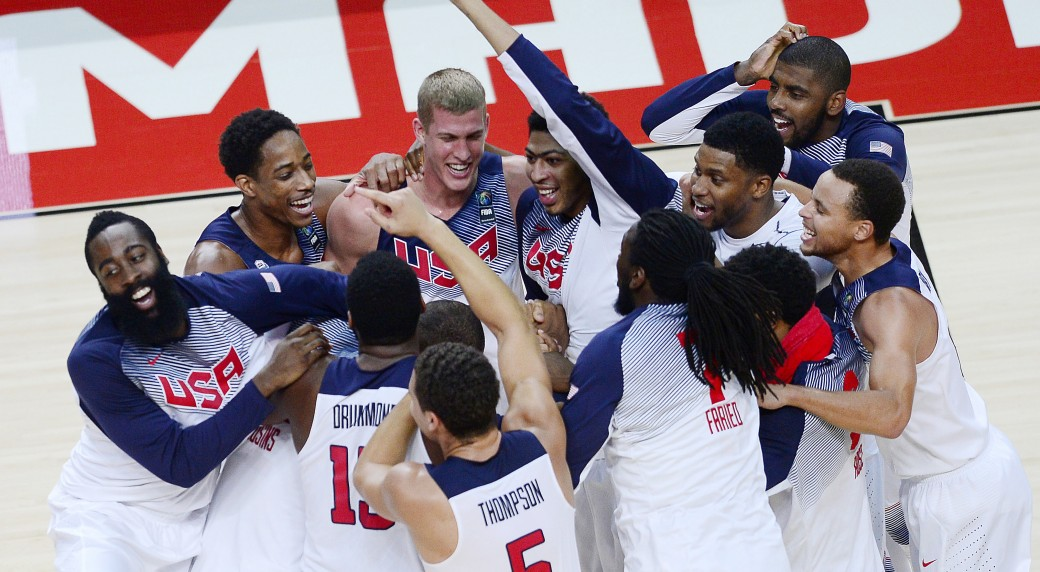 5cd18f749968 United States  players celebrate after winning the final World Basketball  match between the United States and Serbia at the Palacio de los Deportes  stadium ...