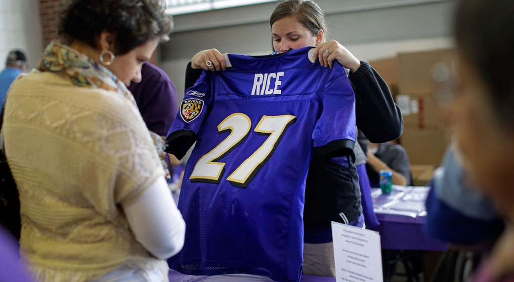 9ace0812e A worker folds up a former Baltimore Ravens running back Ray Rice jersey  that a fan traded in. The Ravens offered fans a chance to exchange their  Rice ...