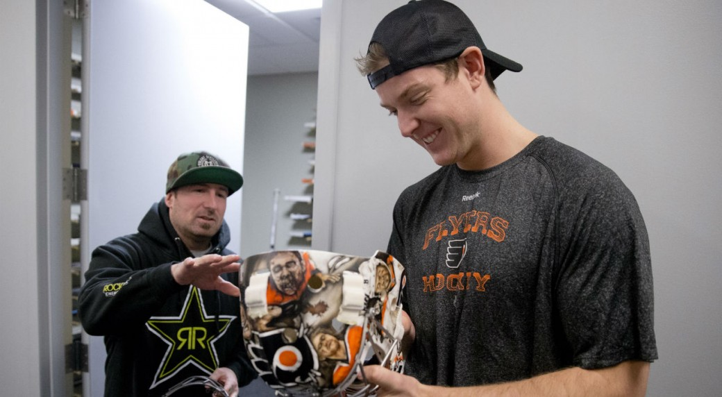 Goalie masks come to life with airbrushed flair sportsnet philadelphia flyers goalie steve mason right looks at his new mask painted by franny drummond left at the teams nhl hockey training facility in maxwellsz