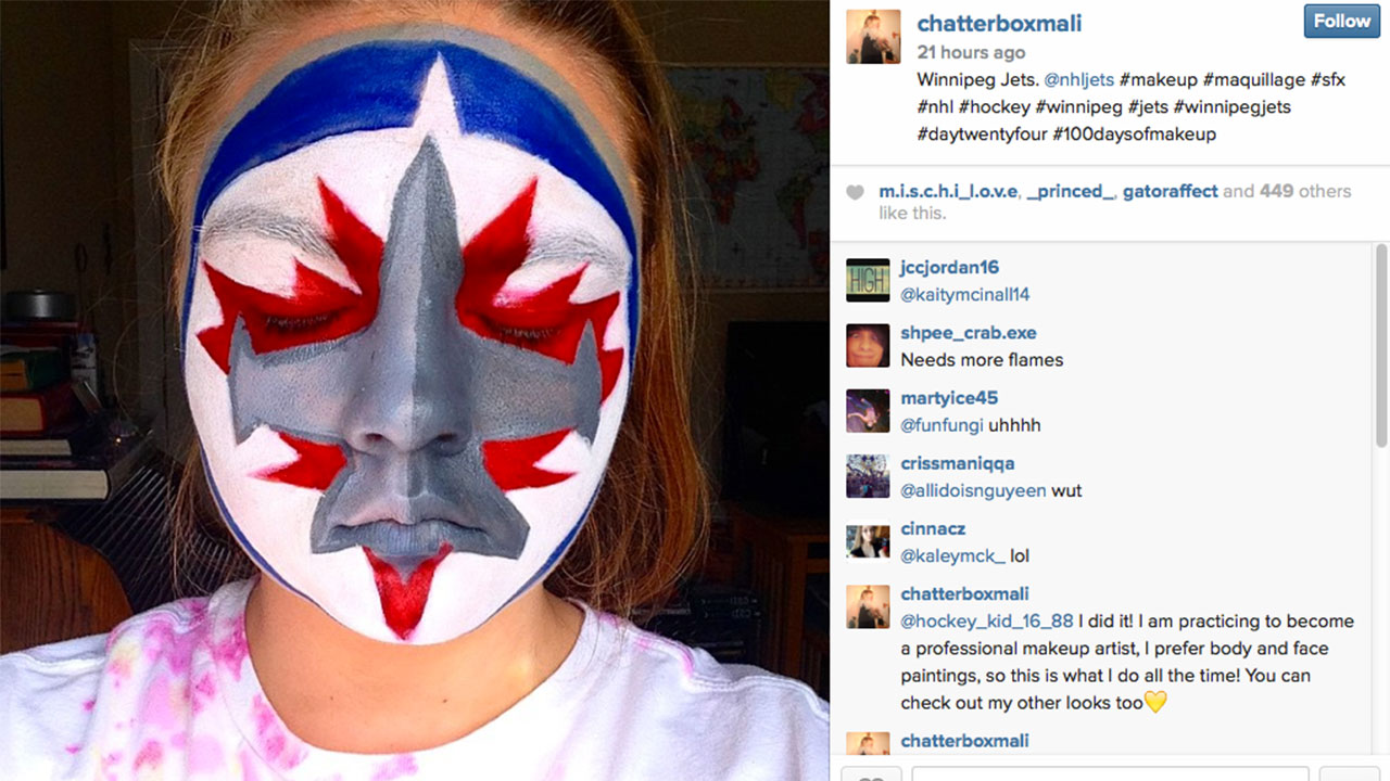 Makeup artist wows with facepainted NHL logos. Winnipeg-Jets