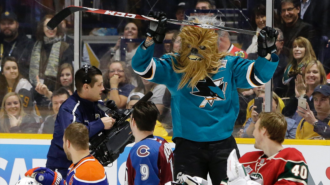 San Jose Sharks defenseman Brent Burns skates back to the bench wearing a Chewbacca mask after competing in the breakaway challenge at the NHL hockey All-Star game skills competition Saturday, Jan. 30, 2016, in Nashville, Tenn. (AP Photo/Mark Humphrey)