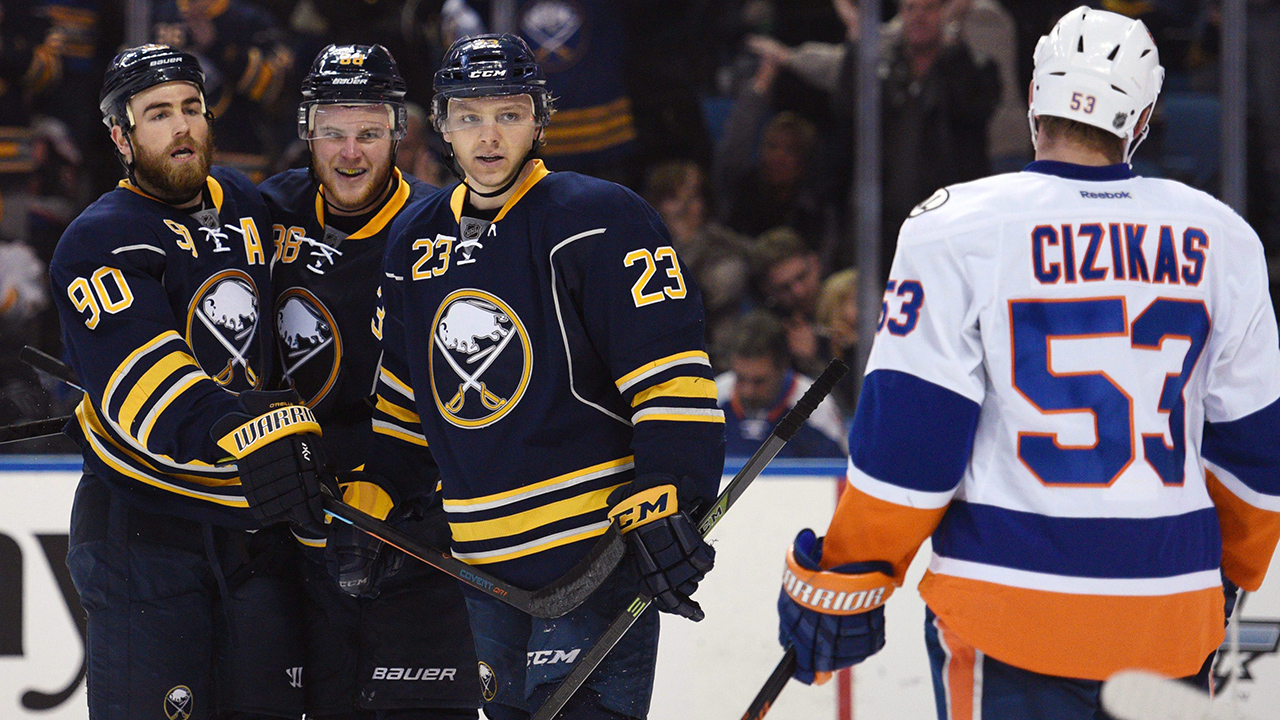 Buffalo Sabres' Ryan O'Reilly (90), Jamie McGinn (88) and Sam Reinhart (23) celebrate a goal by O'Reilly. (Gary Wiepert/AP)