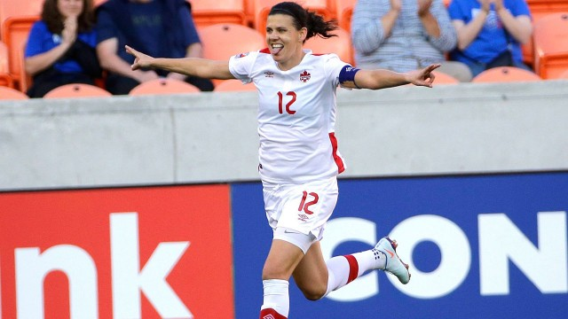 Canada captain Christine Sinclair looks to score for MS Society of Canada