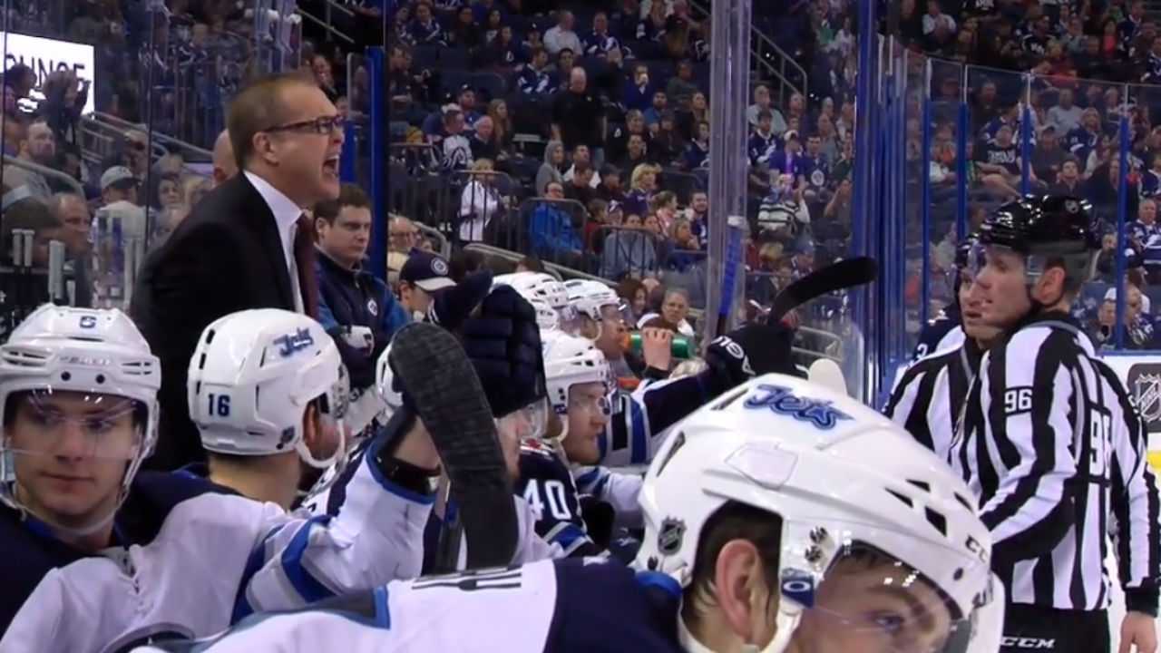 Furious Paul Maurice Tossed From Jets-Lightning Game (video)