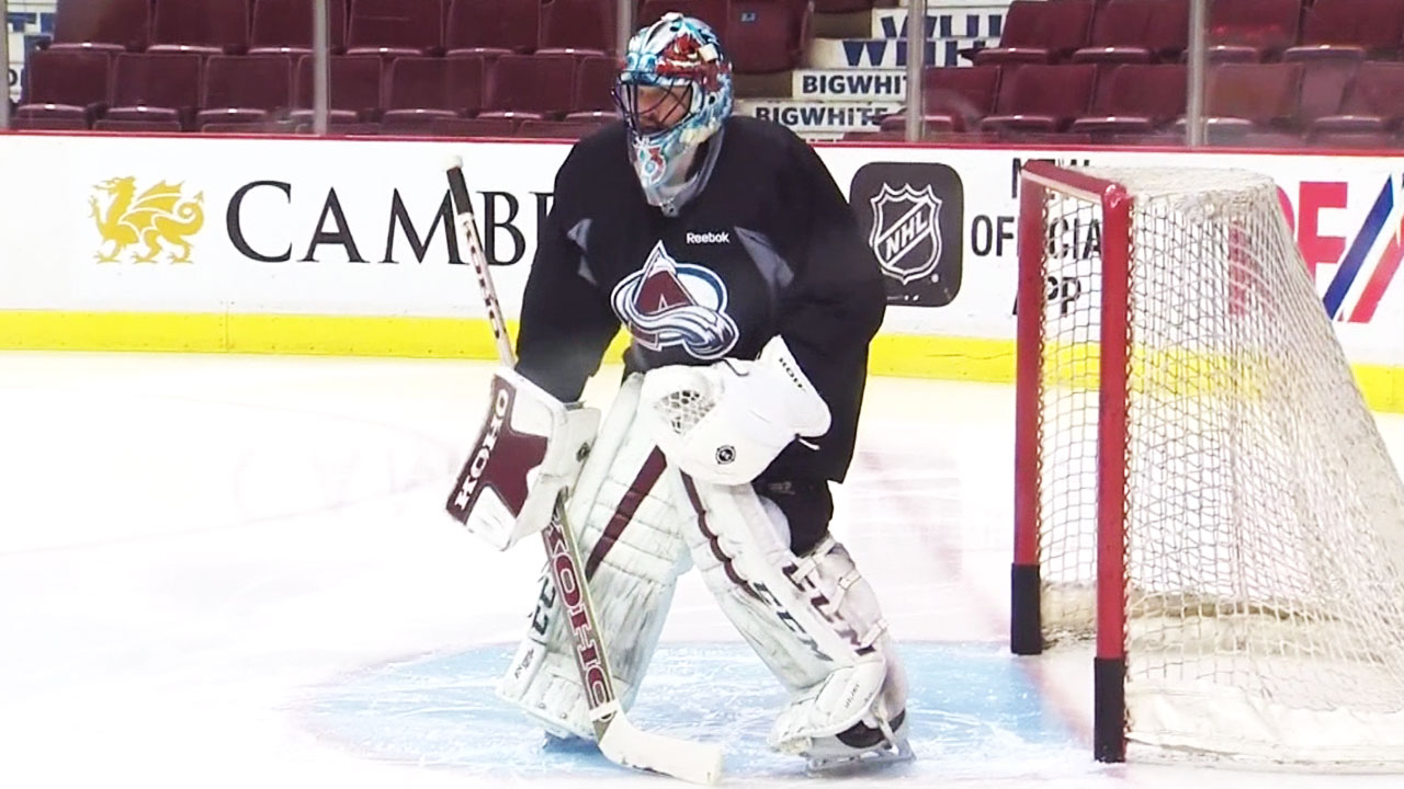 Patrick Roy strapped on the pads during a recent Colorado Avalanche practice.