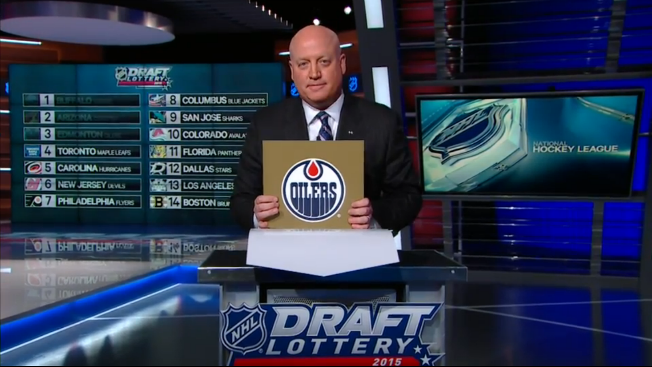 NHL deputy commissioner Bill Daly reveals the Edmonton Oilers draft lottery card which awarded them the 1st overall pick in the 2015 NHL Draft. (Sportsnet)