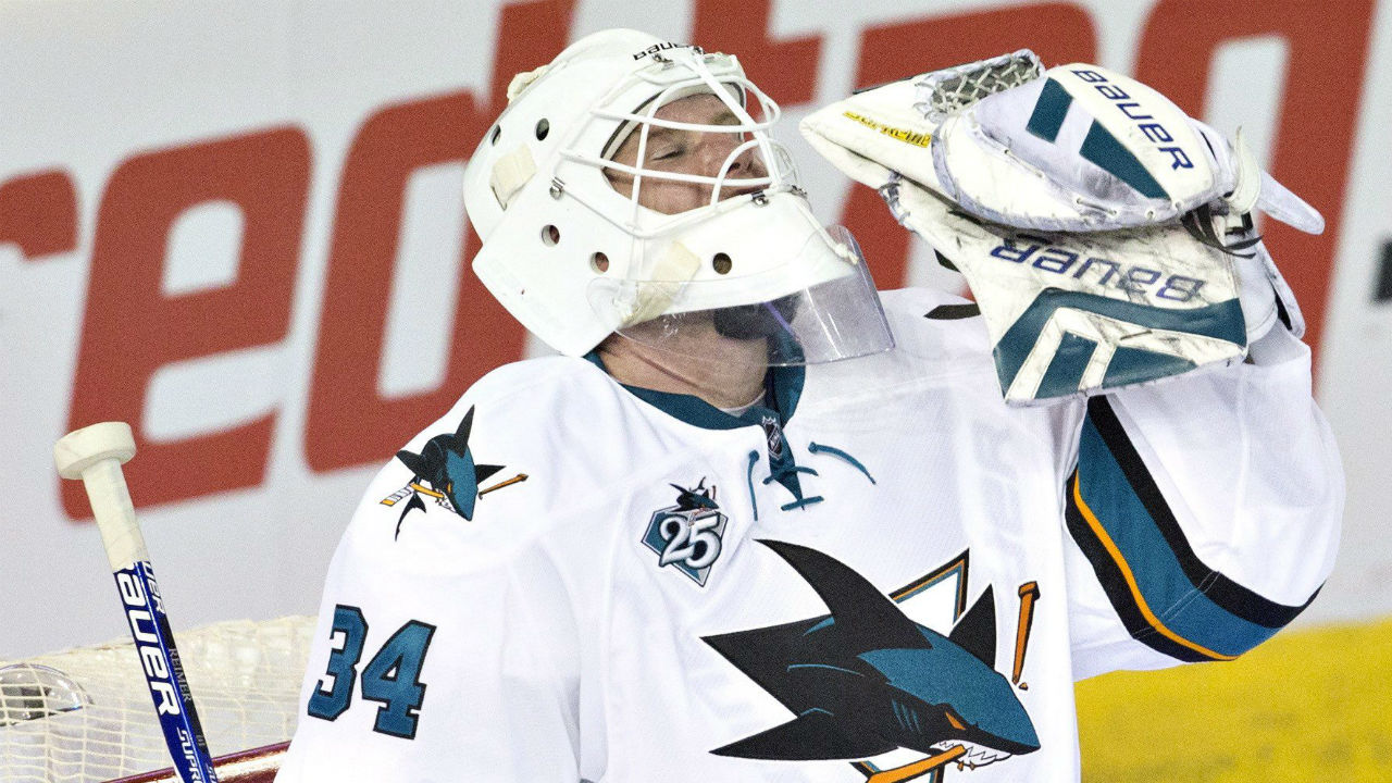 San Jose Sharks goalie James Reimer is an unrestricted free agent at the end of the season.(Jason Franson/CP)