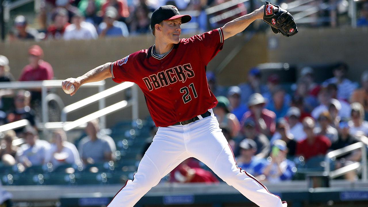 Arizona Diamondbacks' Zack Greinke throws during the first inning of a spring training baseball game. (Matt York/AP)