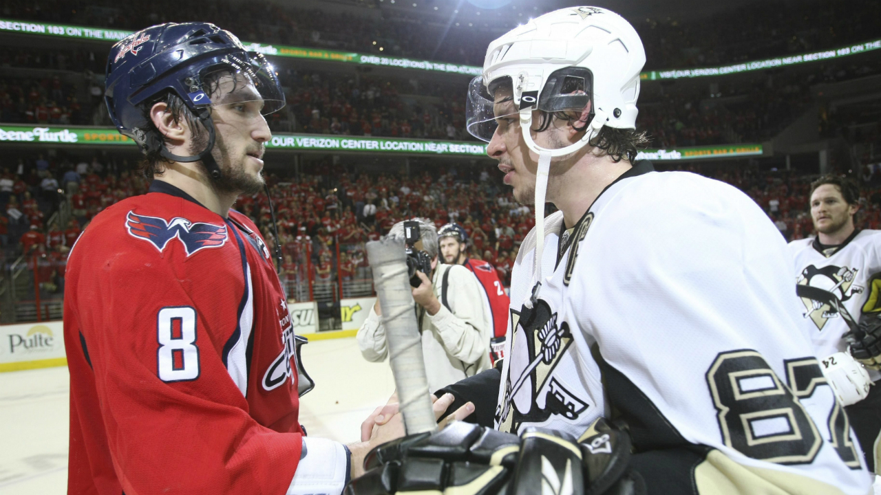 Alex Ovechkin and Sidney Crosby shake hands after Game 7 of their second-round matchup in 2009. It's the only time the two stars have met in the post-season. (AP Photo/Bruce Bennett, Pool)