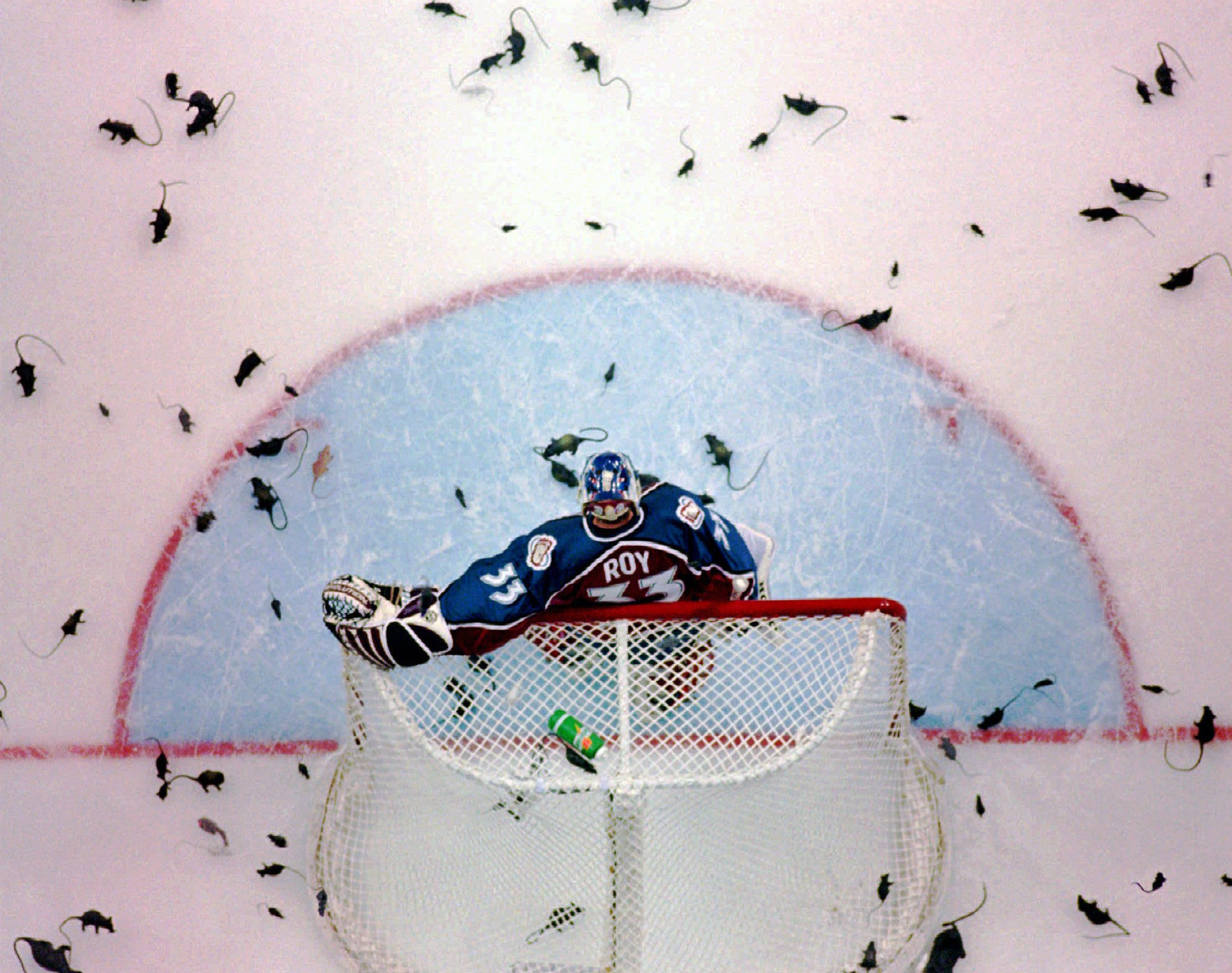 Colorado Avalance goalie Patrick Roy is resigned to a barrage of rats thrown by fans after the Florida Panthers scored a goal in the first period of the 3rd game of the Stanley Cup Finals in Miami Saturday, June 8, 1996. (AP Photo/Rick Bowmer)