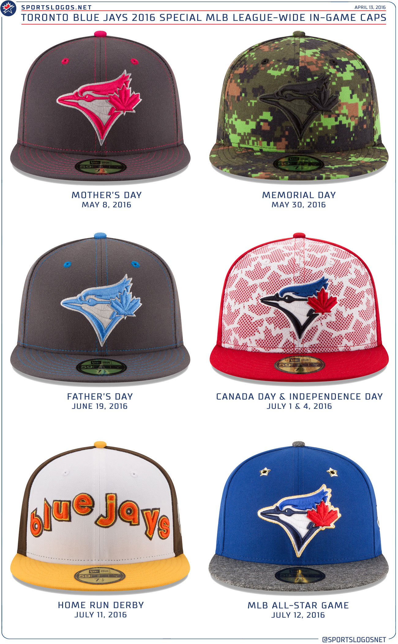 MLB reveals Blue Jays  six special-occasion hats and jerseys ... 5946ede1181