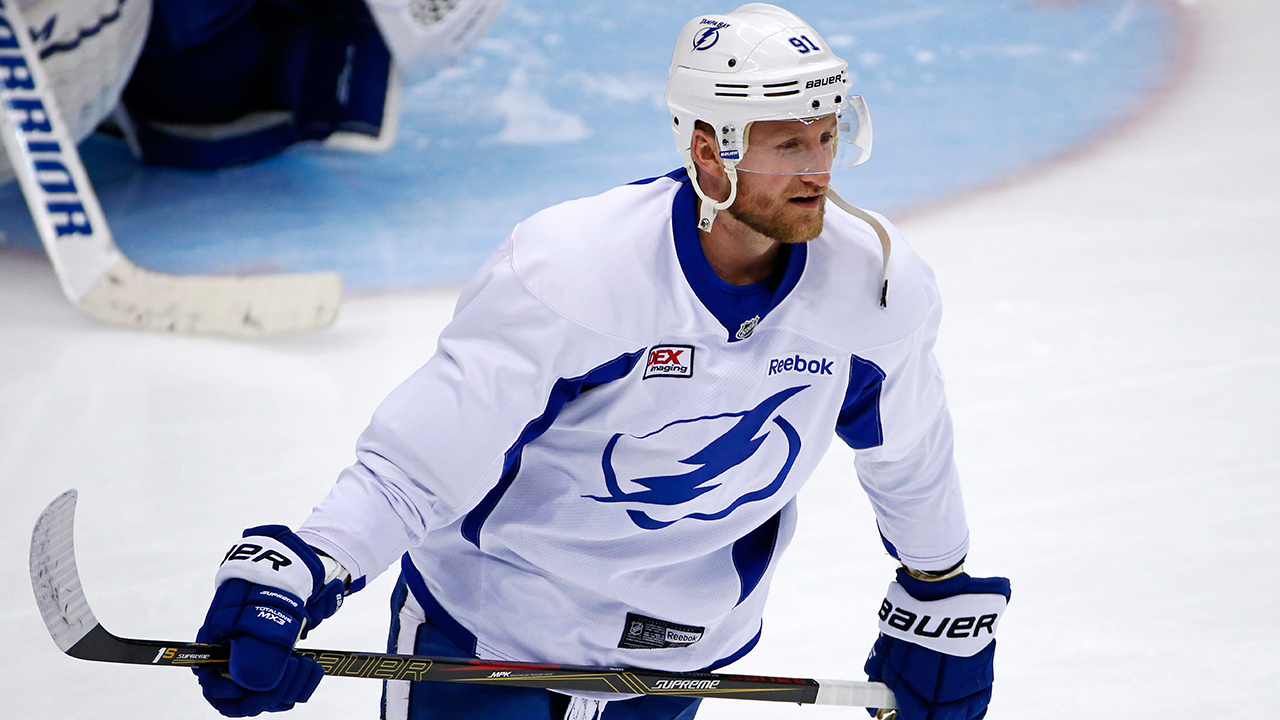 Steven Stamkos skates during hockey practice at the Consol Energy . (Gene J. Puskar/AP)