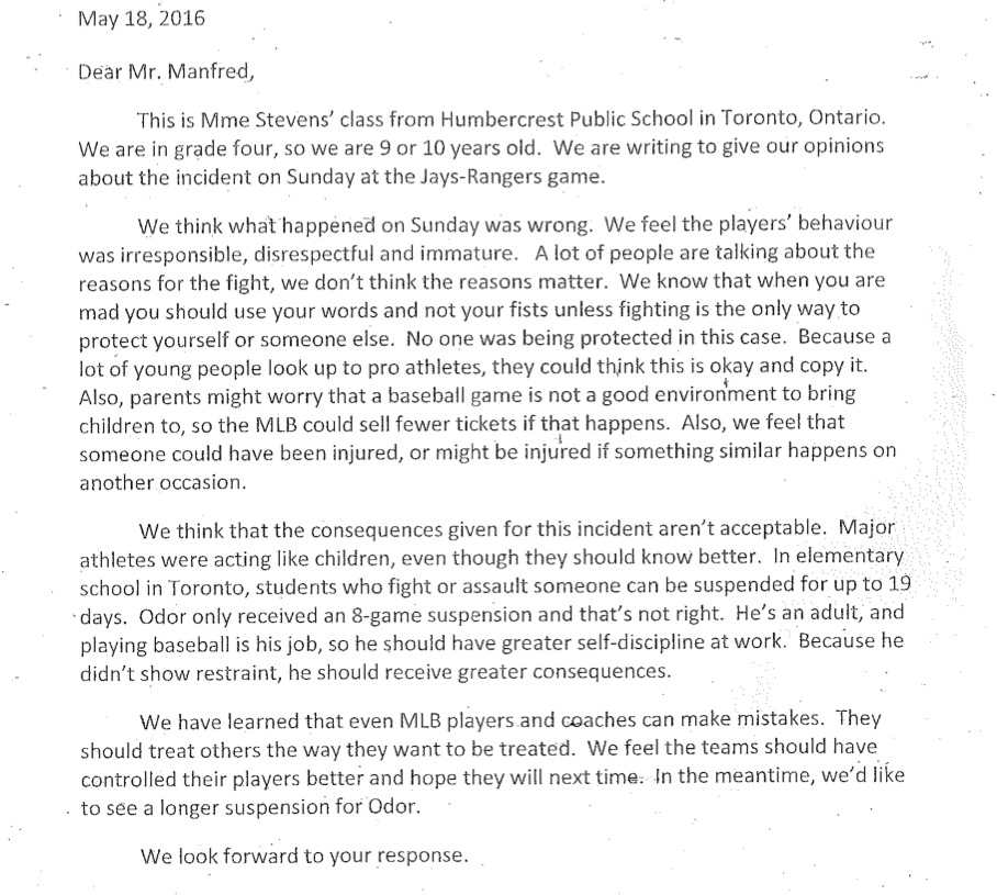 mlb commissioner writes toronto students letter about bautista odor