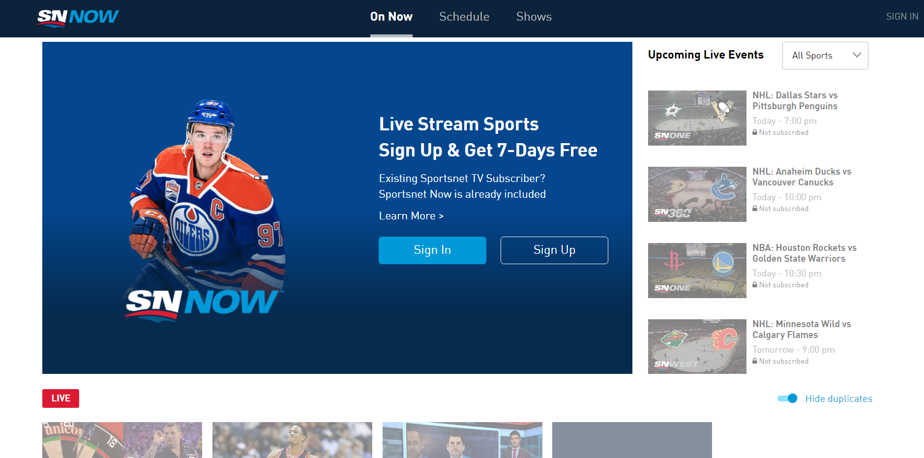 Sportsnet NOW Redesign for Desktop Experience - Sportsnet NOW