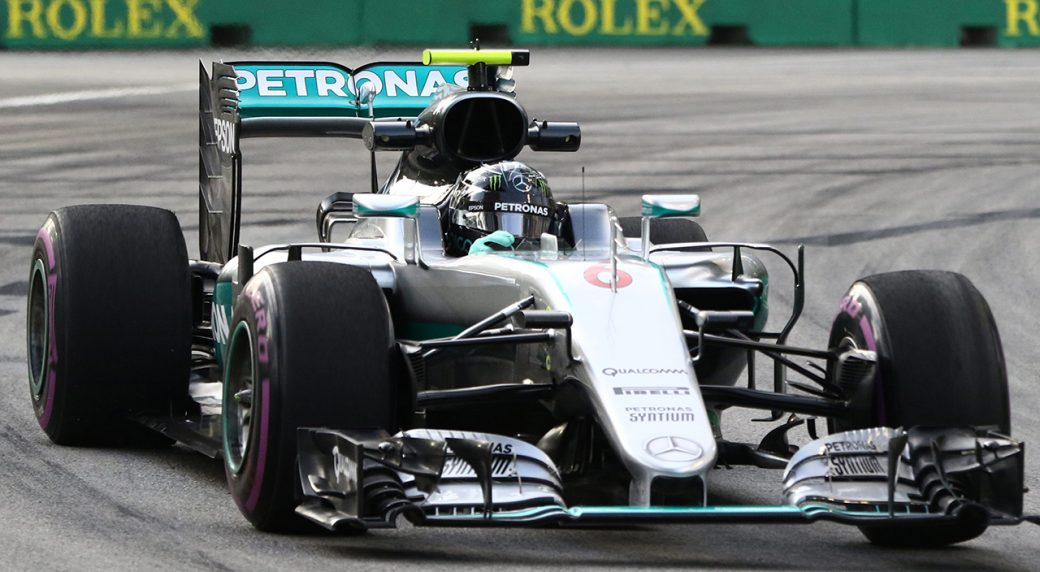 3365977c530 Mercedes driver Nico Rosberg of Germany steers his car during the first  practice session for the Singapore Formula One Grand Prix . (Yong Teck  Lim AP)