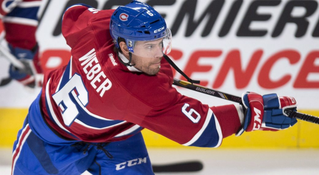 Montreal Canadiens defenseman Shea Weber takes a shot during the warm-up  prior to facing the Toronto Maple Leafs in NHL pre-season hockey action  Thursday 541087bdf