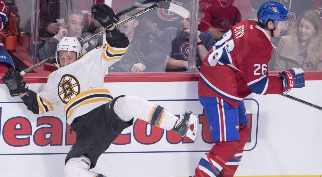 Canadiens F Danault hit in head by Chara slap shot