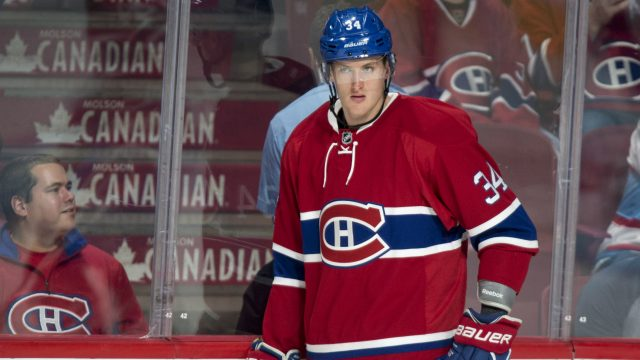 Montreal-Canadiens-right-wing-Michael-McCarron-is-seen-warming-up-prior-to-NHL-pre-season-hockey-action-Thursday,-October-6,-2016-in-Montreal.-(Paul-Chiasson/CP)