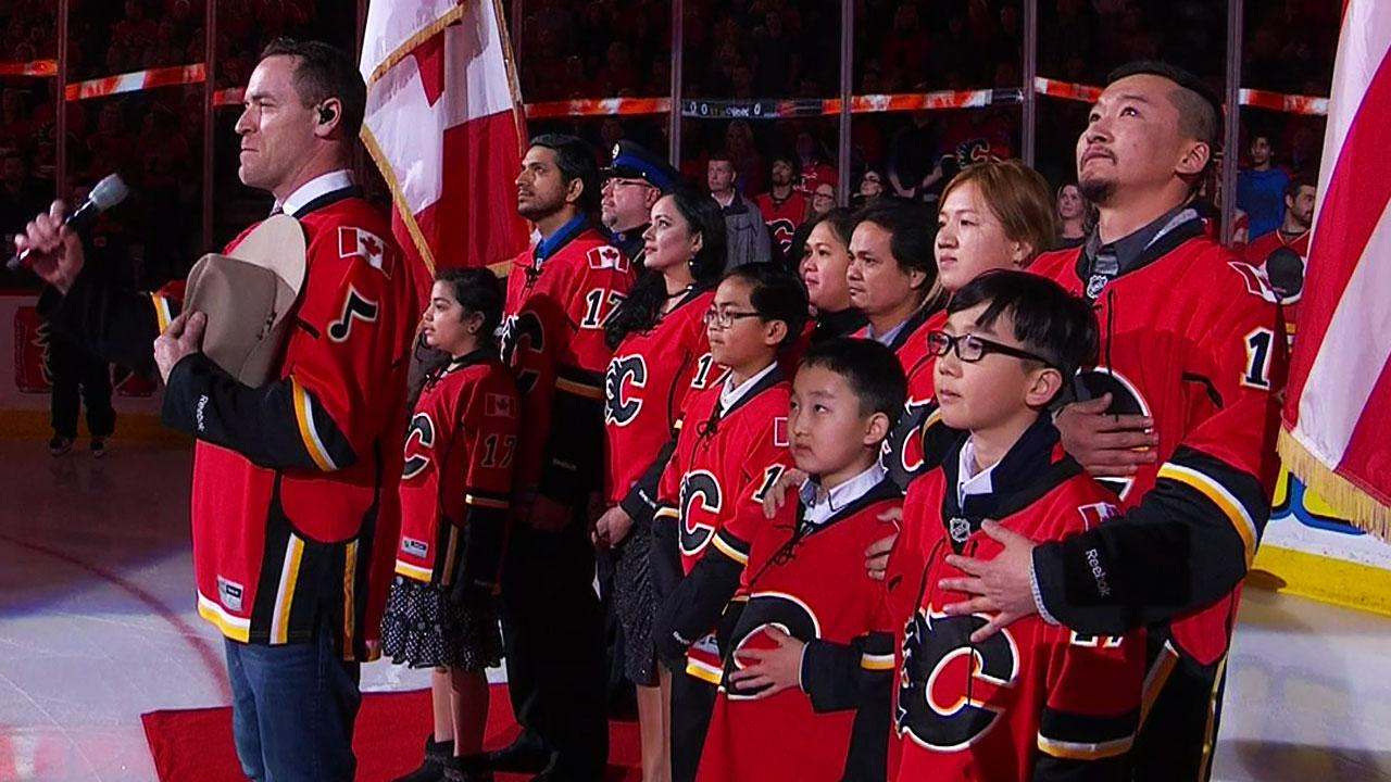Flames Welcome 10 New Canadians To Sing Anthem (video)