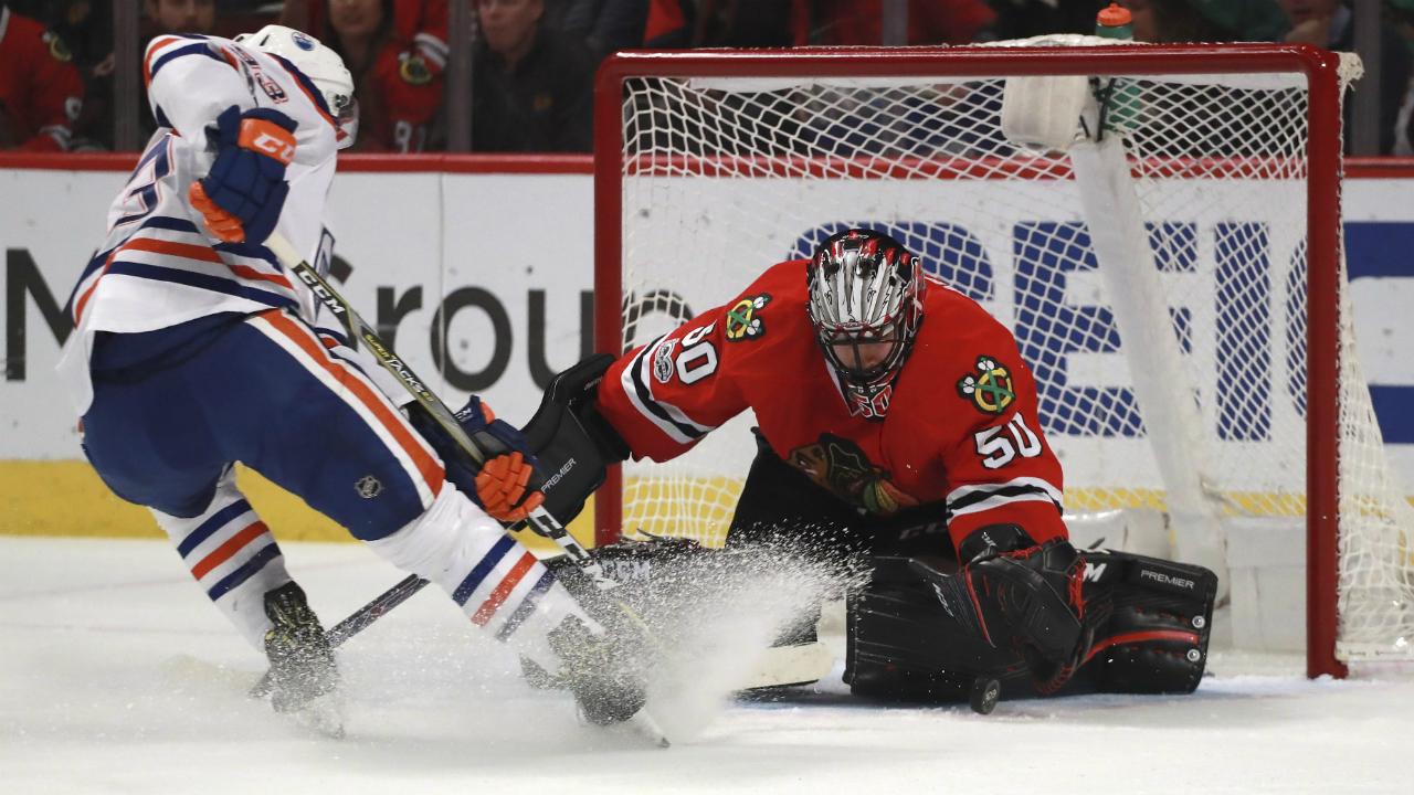 McDavid scores 20th, Talbot sharp as Oilers beat Blackhawks