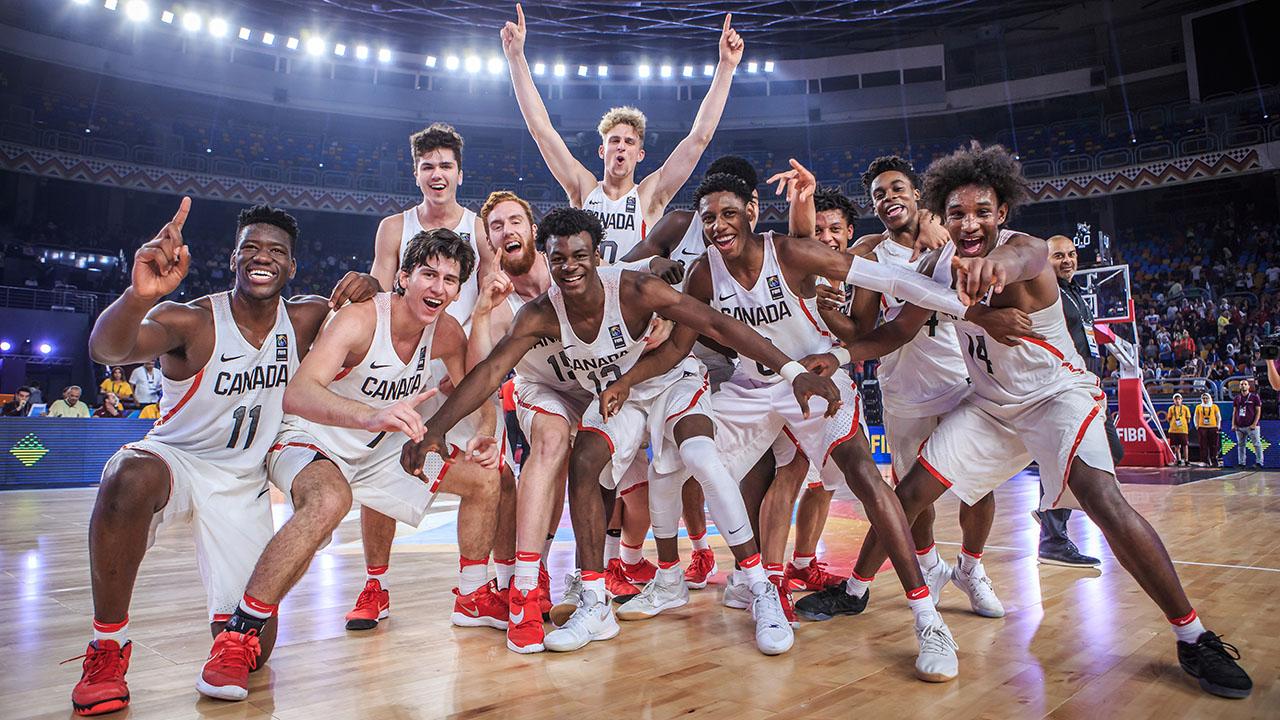 c0e52578ee7 Canada celebrates its win at the FIBA U19 Basketball World Cup on Sunday