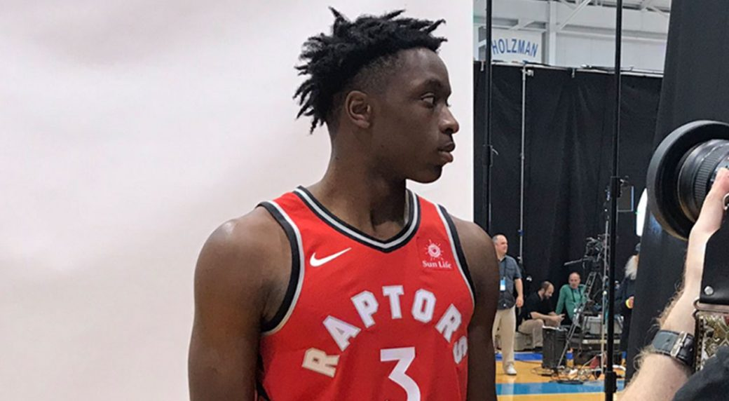 4b7f6d0770f OG Anunoby spotted wearing Raptors  new jersey with Sun Life patch ...