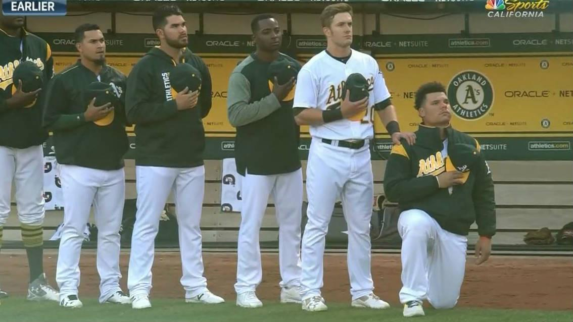 Athletics' Maxwell first MLB player to kneel during anthem