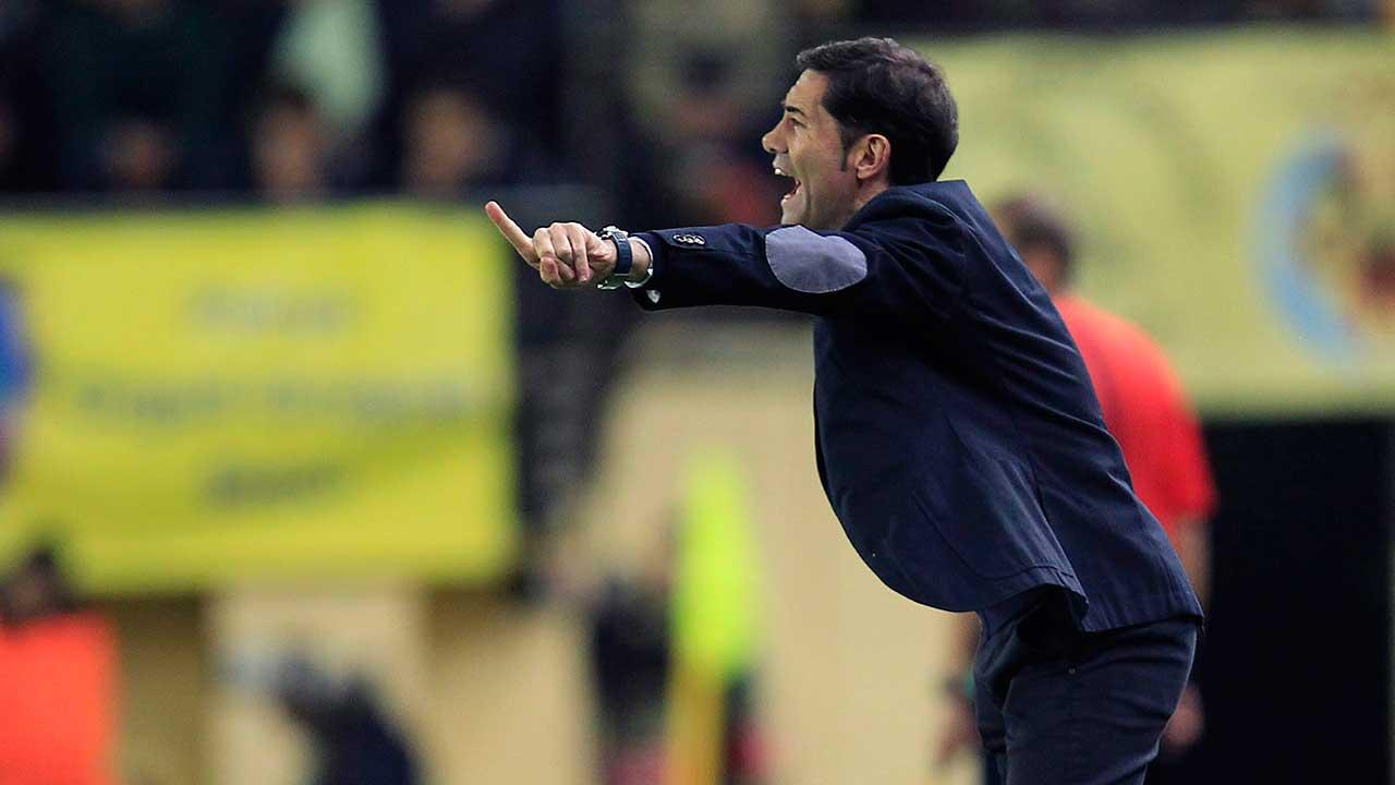Valencia coach Marcelino pulls muscle celebrating winner