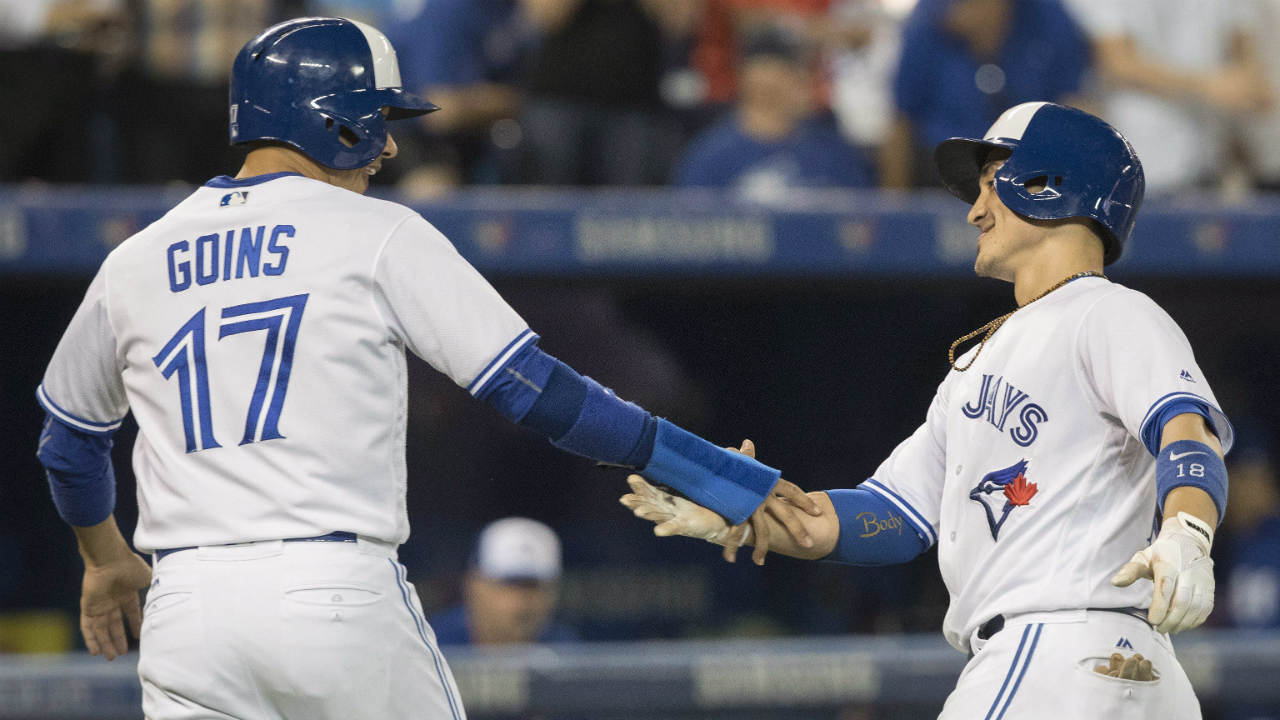 Barney drives in three, Stroman works seven innings in Jays' win