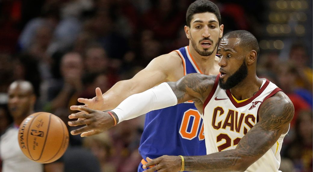 f7567258e7cc Cleveland Cavaliers  LeBron James (23) passes against New York Knicks  Enes  Kanter (00) in the second half of an NBA basketball game