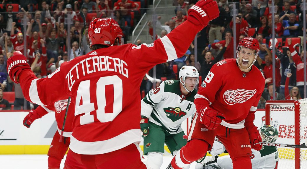 Detroit Red Wings  Anthony Mantha (39) celebrates his goal with Henrik  Zetterberg 0745a4891