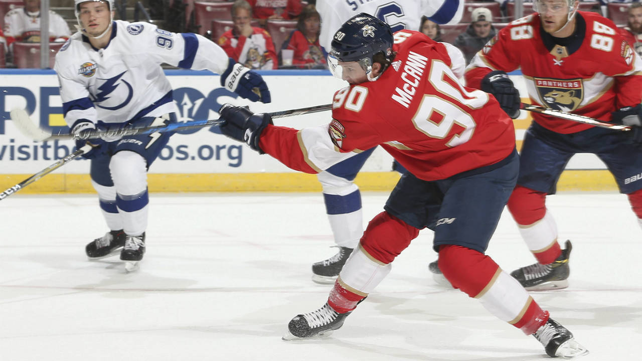 Florida Panthers centre Jared McCann (90). (Joel Auerbach/AP)