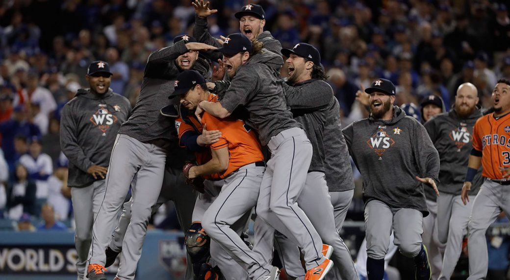 28fdf8df418 The Houston Astros celebrate after Game 7 of baseball s World Series  against the Los Angeles Dodgers Wednesday