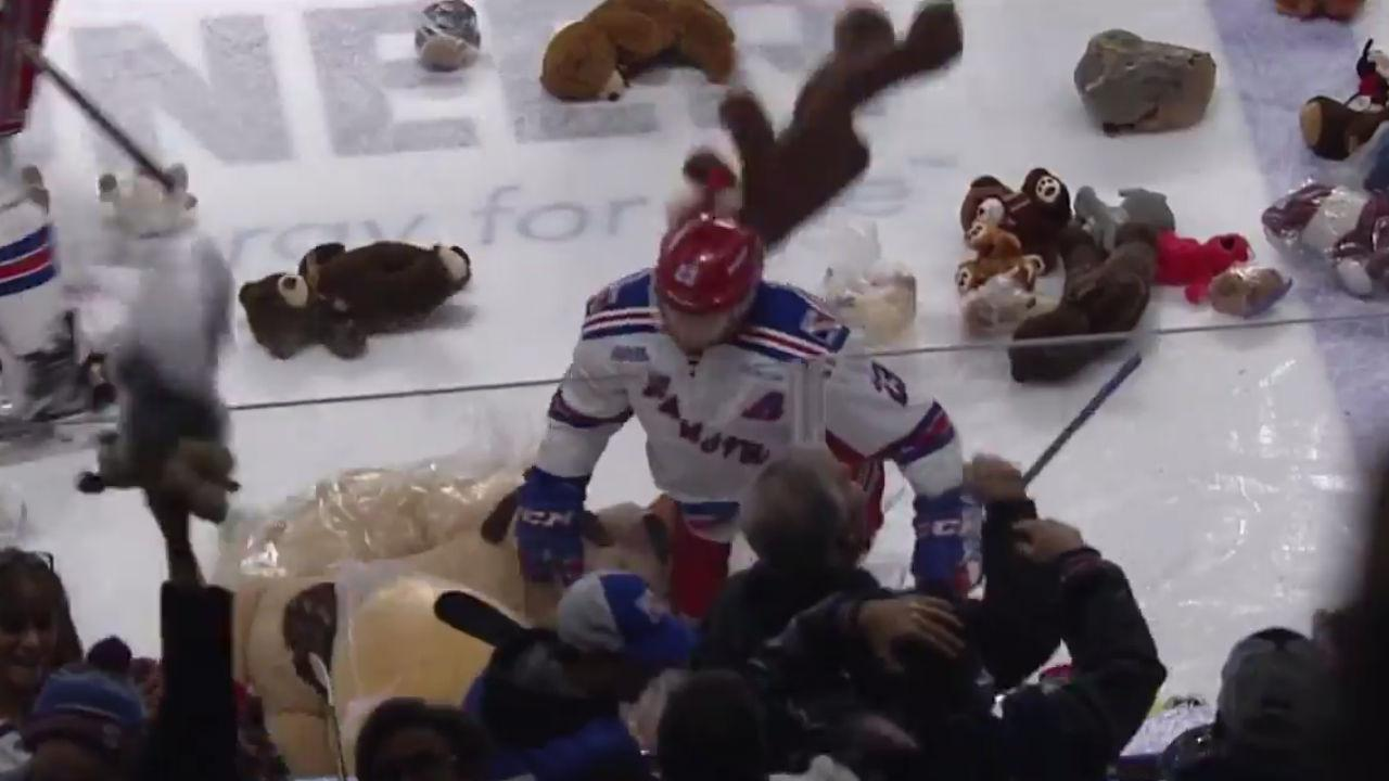 OHL: Kitchener Rangers' Mascherin Takes A Tumble On A Teddy Bear After Goal