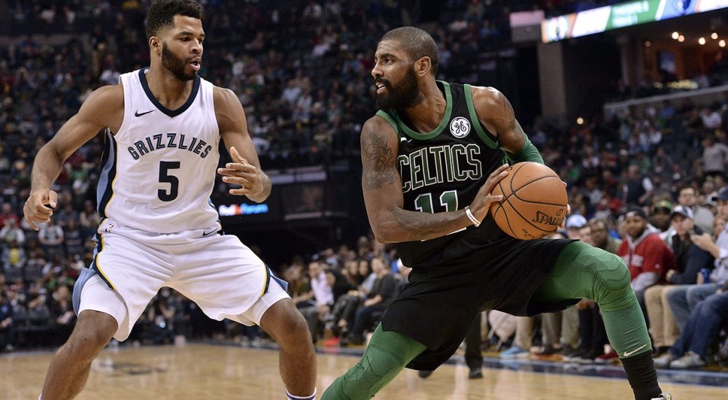43eb693a451c Boston Celtics guard Kyrie Irving (11) controls the ball against Memphis  Grizzlies guard Andrew Harrison (5) in the second half of an NBA basketball  game ...