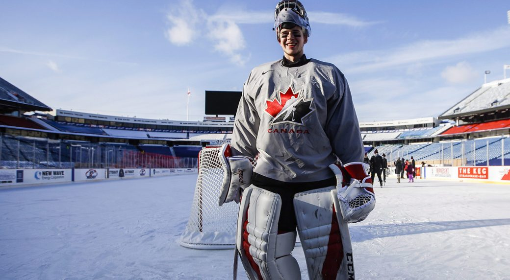Canada goalie Carter Hart stands on the ice during their outdoor hockey  practice at New Era Field during the IIHF World Junior Championship in  Orchard Park 053ed7bb1