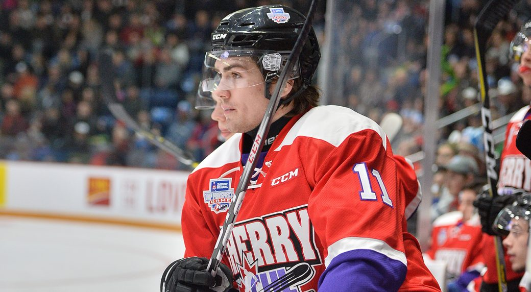 87c64cf4d Filip Zadina of the Halifax Mooseheads represents Team Cherry in the 2018  Sherwin-Williams CHL NHL Top Prospects Game held in Guelph