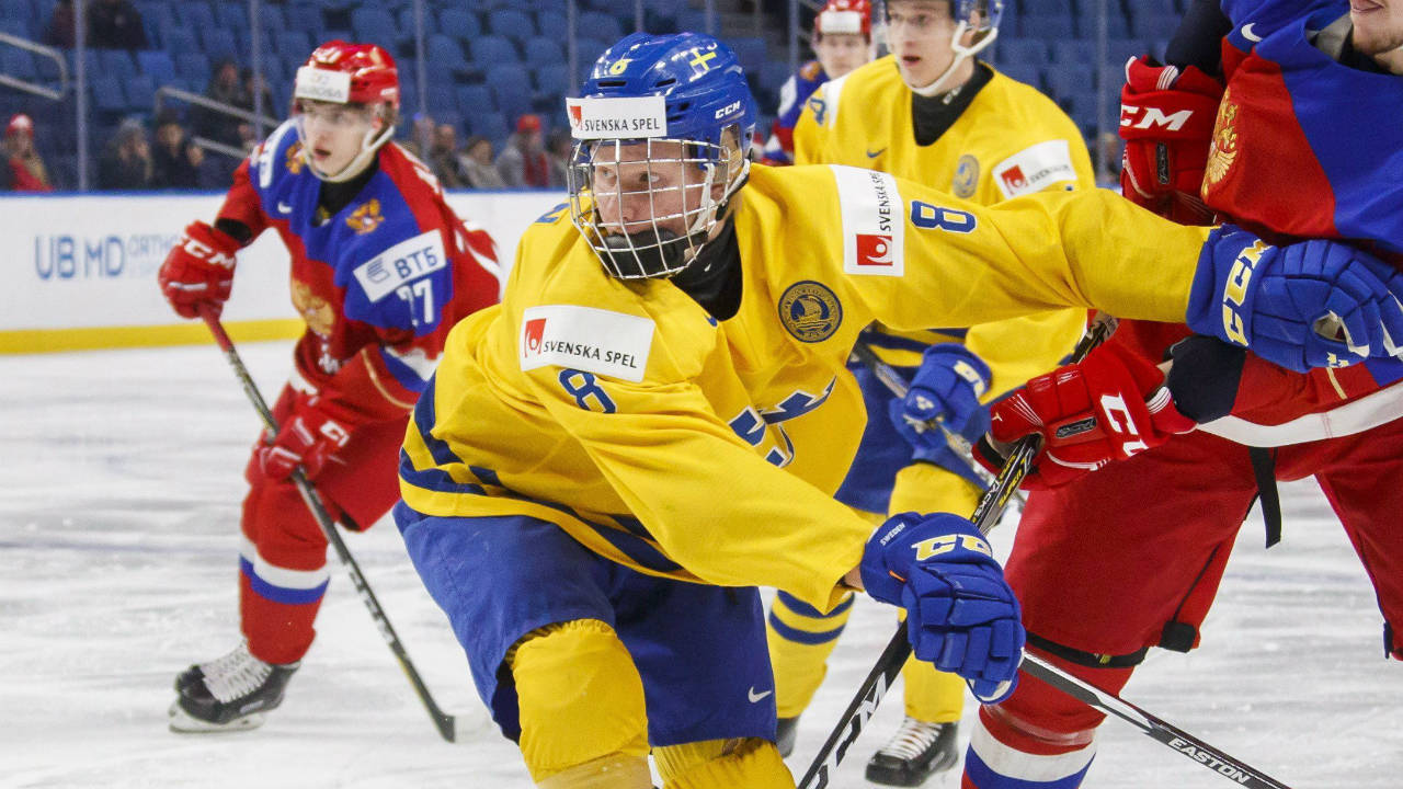 Sweden's Rasmus Dahlin battles with Russia's Dmitri Sokolov, right during first period IIHF World Junior Championship preliminary hockey action in Buffalo, N.Y., Sunday, December 31, 2017. (Mark Blinch/CP)