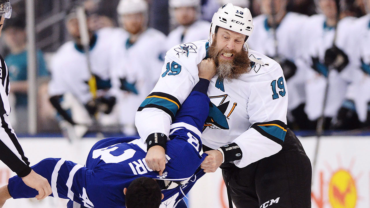 Joe Thornton loses part of his beard in a fight
