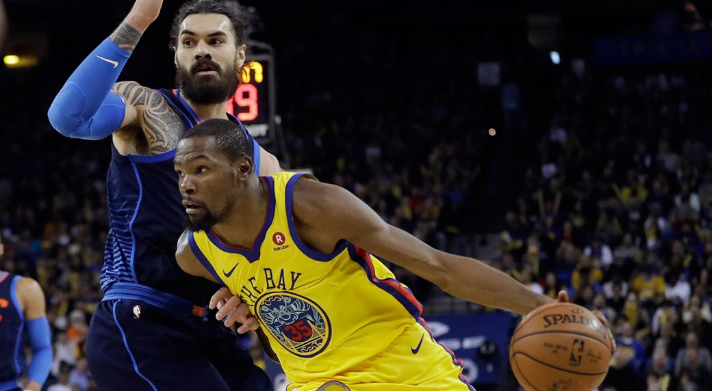 36df651d519c Kevin Durant has 28 points to lead Warriors rout of Thunder ...