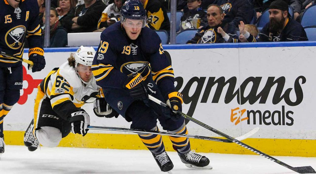 1c801a4d3f0 Buffalo Sabres defenceman Jake McCabe (19) skates past Pittsburgh Penguins  forward Carl Hagelin (62) during the second period on Friday Dec.