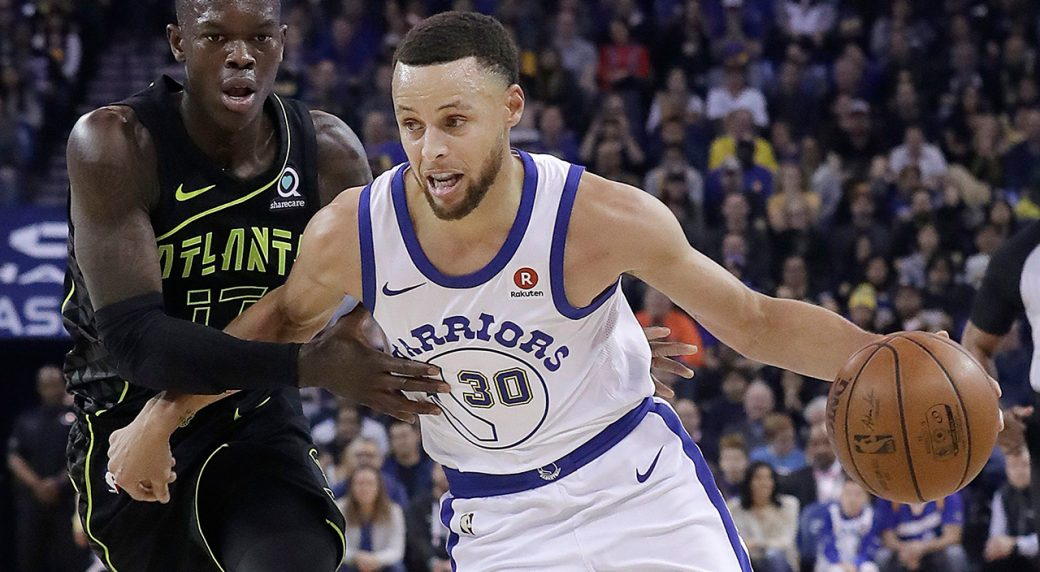 49876303a58 Golden State Warriors guard Stephen Curry (30) dribbles against Atlanta  Hawks guard Dennis Schroeder during the first half of an NBA basketball  game in ...