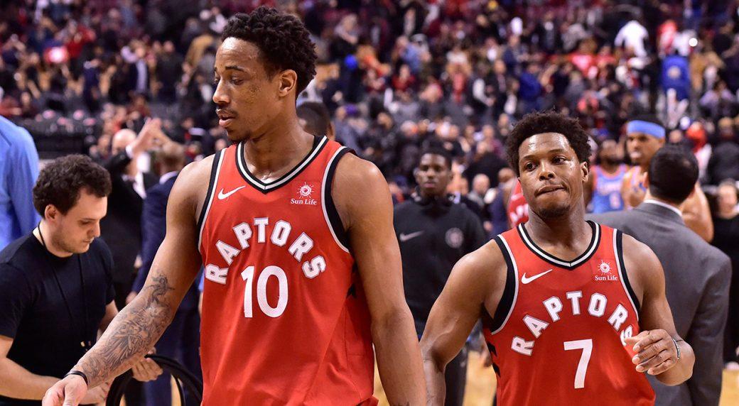 6d2a7e6d6c97 Toronto Raptors guard DeMar DeRozan (10) and Guard Kyle Lowry walk off the  court. (Frank Gunn CP)