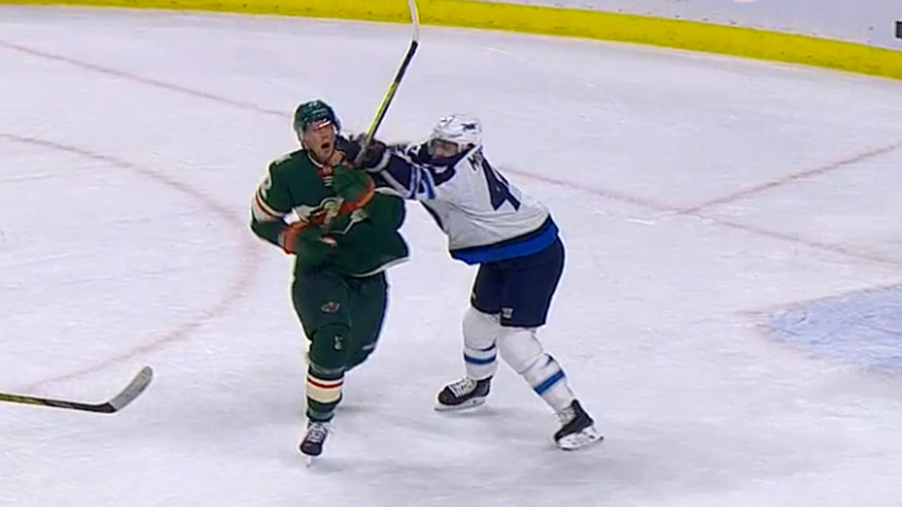 Jets' Morrissey cross-checks Wild's Staal in face, avoids penalty