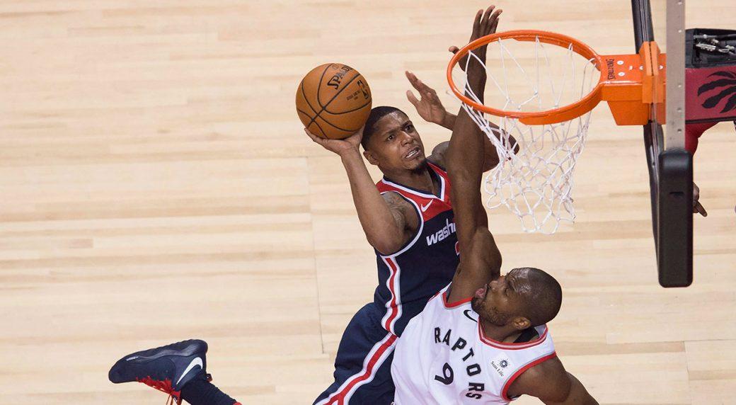 Washington Wizards guard Bradley Beal (3) drives to the net against Toronto  Raptors forward Serge Ibaka (9) during first half round one NBA playoff ... 8ada06f9f