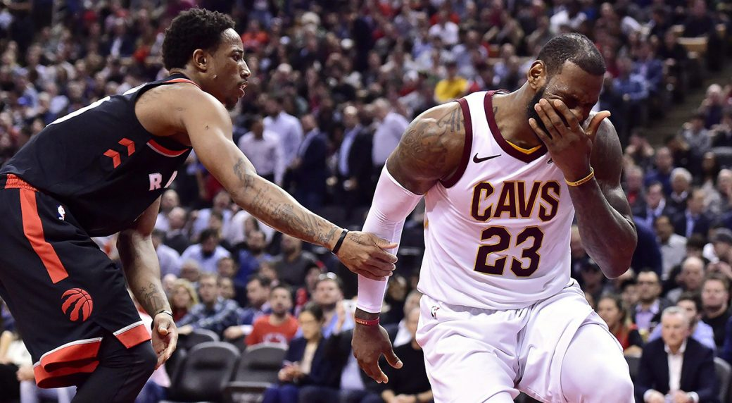 c3bd0516d80e Cleveland Cavaliers forward LeBron James (23) reacts after being fouled by  Toronto Raptors guard DeMar DeRozan (10) during second half NBA basketball  action ...