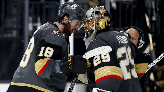 James-Neal-and-Marc-Andre-Fleury-celebrate-a-Golden-Knights-Western-Conference-Final-win.