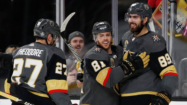 Vegas-Golden-Knights-center-Jonathan-Marchessault-congratulates-right-wing-Alex-Tuch,-who-scored-against-the-San-Jose-Sharks